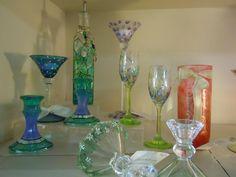 Beautiful, hand-painted glassware by artist, Tonya Henderson available at ReTHINKin It in Durand, MI.  Find ReTHINKin It on Facebook