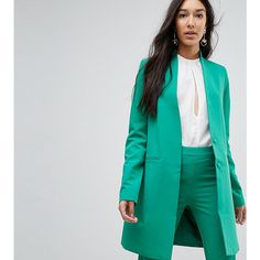 Y.A.S Tall Collarless Blazer With Shoulder Pads (46 AUD) ❤ liked on Polyvore featuring outerwear, jackets, blazers, green, shoulder pad blazers, green jacket, genuine leather jackets, green blazer jacket and collarless leather jackets