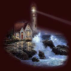 Animated red glow lighthouse