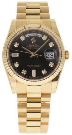 Rolex Day-Date 118238 18K Yellow Gold Black Dial wDiamonds Automatic 36mm Mens Watch