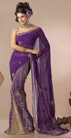 Ive worn a sari before and ill do it again! Description: Deep purple color georgette lehenga style saree is with heavily embroidered motifs design with brocade kalis with border Beauty And Fashion, Purple Fashion, Fashion Women, Purple Saree, Purple Dress, India Fashion, Ethnic Fashion, Saree Fashion, Bollywood Fashion