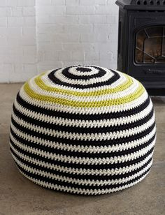 Yarnspirations.com - Bernat Graphic Stripes Pouf  FREE download, thanks so xox