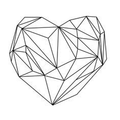Heart Graphic (black on white) Art Print. Use as an idea, then color all the sections different colors (use foil or gold paint as well)