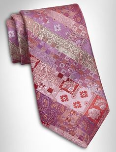 Robert Graham Mixed Media Tie  In a textural blend of patterns on lustrous silk.