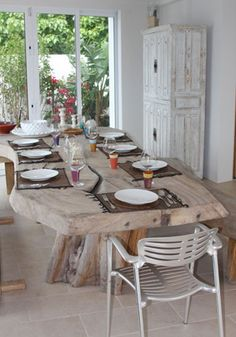 Large, rustic table, perfect for a bed and breakfast! This particular table is found inside Las EsQuinas Boutique B+B in Anguilla.