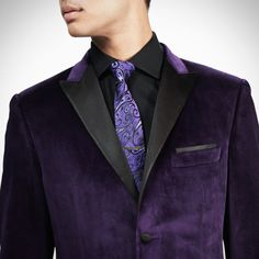 Purple Velvet Dinner Jacket with black spread collar twill shirt, purple with black paisley tie, dual stripe tie bar.