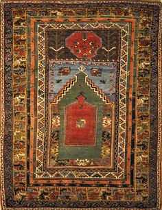 This Mudjur Meditation Prayer Rug has the richest palette of all Anatolian rugs, and resemble the very fine Caucasian rugs. Patterns and motifs are strictly geometrical. Textured Carpet, Patterned Carpet, Medium Rugs, Prayer Rug, Meditation Prayer, Asian Rugs, Rustic Rugs, Sheepskin Rug, Floral Rug