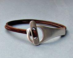 Silver Loop, Mens Leather Bracelet, Cuff, Boyfriend Gift, Mens Gift, For Him, Customized To Your Wrist, MS11
