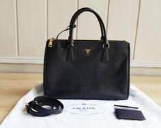 b656ef6ac868 Details about AUTHENTIC Prada saffiano Lux Double-zip Galleria Bag Leather  1BA274 NERO tote