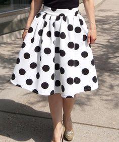 Loving this White & Black Polka Dot Midi Skirt - Women on #zulily! #zulilyfinds