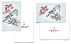 Vintage Bird Greeting Card Template Design | StockLayouts