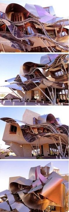 I  1ST  LOOKED  AT   THIS  AND  WONDERED  WHAT  HAPPENED  TO THE BUILDING  THEN   I  SAW IT  WAS BUILD  LIKE THIS  BOY  WAS  I SHOCKED.LOL Hotel Marques de Riscal, Elciego, España, de Frank Gehry