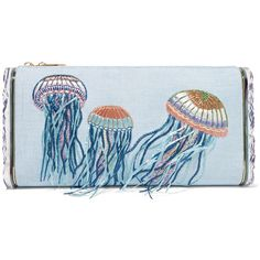 Edie Parker - Jumbo Lara Jelly Fish Embroidered Raffia And Acrylic Box... ($878) ❤ liked on Polyvore featuring bags, handbags, clutches, sky blue, embroidered clutches, jelly purse, polka dot purse, raffia clutches and embroidered purse
