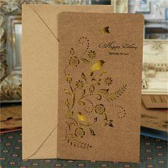 8 conjuntos de dobrar papel Kraft recorte coréia criativo cartão cartões bênção para o presente do negócio feliz cartões de aniversário em Cartões de agradecimento de Escritório & material escolar no AliExpress.com | Alibaba Group