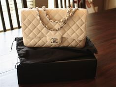 Chanel Jumbo Classic Flap Bag Beige Caviar with Silver Hardware  Have this...
