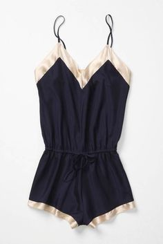 Anthropologie navy and creme satin romper