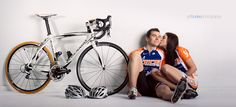 an engagement shoot with cyclists