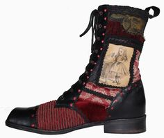 """Alice in Wonderland boots - Alice in Wonderland inspired, handcrafted laced boot individually cobbled incorporating a selection of interest materials of tapestry and velvet, patch worked together with digitally printed soft leathers and brogue detailing. This design is beautifully lined using stunning soft suede. Made on a broad toed """"hobnail"""" last for comfort and effect."""