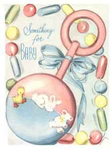 'Something for Baby' gift card--rattle, beads, duckling and bunny