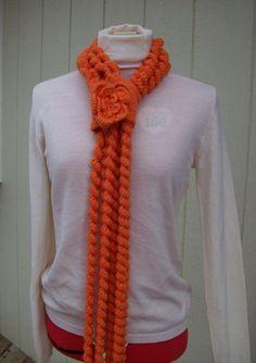 Octupus Scarf  Crochet Wool Scarf Orange Scarf  by llullugirl
