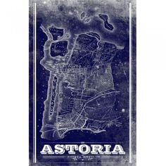 Nautical inspired blue Vintage Astoria Map
