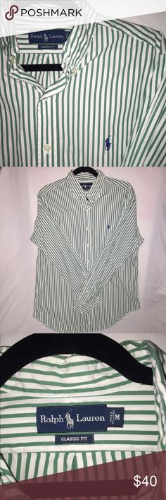 SALE❗️❕Ralph Lauren button down Green and white stripped Ralph Lauren long sleeve button down for me size medium. In great condition! Class fit 👌🏻 Polo by Ralph Lauren Shirts Dress Shirts