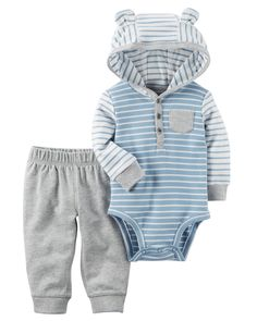 Crawling, playing or sleeping, he's cute and comfy in this 2-piece set! Complete with a hooded bodysuit and easy-on pants.