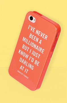 kate spade 'millionaire' Dorothy Parker quote iPhone case