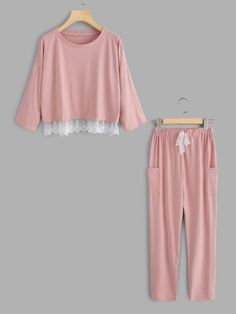 SheIn offers Lace Hem Pullover Pajama - Pajama Sets - Ideas of Pajama Sets - Shop Lace Hem Pullover Pajama Set online. SheIn offers Lace Hem Pullover Pajama Set & more to fit your fashionable needs. Cute Sleepwear, Sleepwear Women, Pajamas Women, Cute Pjs, Cute Pajamas, Satin Pyjama Set, Pajama Set, Pajama Outfits, Cute Outfits