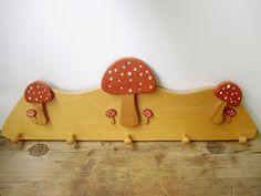 Unused Vintage wood wall /kitchen or nursery shelf /rack ,furniture,handmade, mushroom  pattern,rustic,shabby chic by GraceVintageDesigns on Etsy