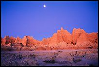 Moon and eroded badlands, Cedar Pass, dawn. Badlands National Park,Part of gallery of color pictures of US National Parks by professional photographer QT Luong, available as prints or for licensing. Wonderful Places, Great Places, Beautiful Places, The Places Youll Go, Places Ive Been, Places To Visit, Badlands National Park, National Parks, Wall Drug