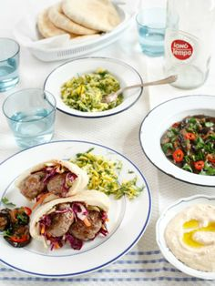 Israeli Recipes for Israel Independence Day - Kebabs with Pistachios, Zucchini and Dill Salad, Eggplant...