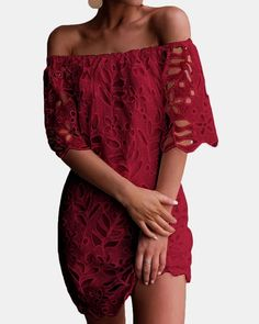 Women's Sexy Off Shoulder Vintage Floral Lace Flare Short Sleeve Loose Elegant Mini Dress Half Sleeve Dresses, Long Sleeve Mini Dress, Half Sleeves, Casual Dresses, Short Dresses, Summer Dresses, Mini Dresses, Lace Dresses, Backless Dresses