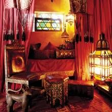 MOROCCAN RETREAT  Assorted Turkish and Moroccan pieces are in perfect harmony in this cozy reading nook.