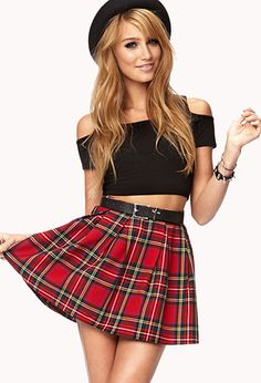 Forever 21 Cool Girl Plaid Skirt In Red Lyst Plaid Skirt Tartan Skirt Outfit, Tartan Mini Skirt, Pleated Mini Skirt, Plaid Skirts, Skirt Outfits, Tartan Plaid, Dress Skirt, Hot Outfits, Black Plaid