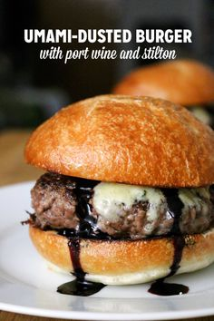 """Ready to add some of the """"fifth taste"""" to your favorite burger? Our recipe uses port wine and stilton, with a little """"Umami Dust"""" for good measure."""