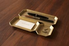 Brass organizer trays by Futagami