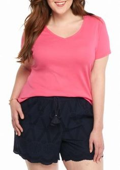 Crown  Ivy  Pink Plus Size Pima Rib Sold V-Neck Tee