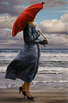 Contemporary painting of a woman holding a red umbrella, while walking on a windy beach. Description from greatbigcanvas.com. I searched for this on bing.com/images