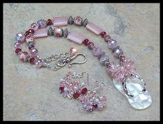 Mother-of-Pearl Flip Flop Pendant Pink Crystals Rose Quartz Cloisonné Necklace Set by timelessdesigns07 on Etsy