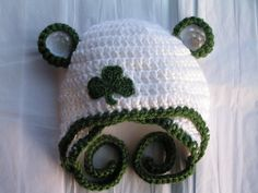 Baby hat  for Newborn to 18 months St. Patrick's Day shamrock or Notre Dame Irish colors -  Twins