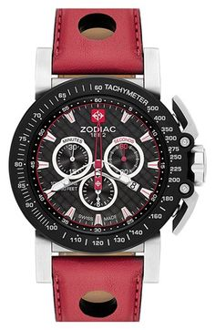Zodiac 'Racer' Chronograph Leather Strap Watch, 47mm available at #Nordstrom