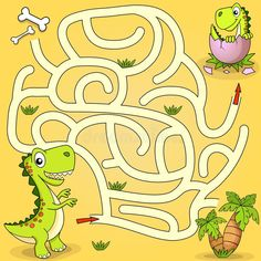 Help Dinosaur Find Path To Nest. Maze Game For Kids Stock Vector - Illustration of labyrinth, raptor: 109834849 Maze Games For Kids, Fun Worksheets For Kids, Mazes For Kids, Subtraction Kindergarten, Subtraction Activities, Kindergarten Fun, Hidden Words In Pictures, Dinosaurs Preschool, Preschool Learning Activities