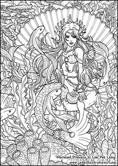 Mermaid Seascape Coloring Page/Line Art Drawing/B&W Image