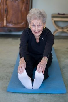 100 year old Ruth still does stretches and Pilates- and doesn't leave home without lipstick.