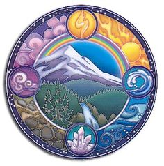 The balance of the 4 elements Fire, Earth, Water and Air are featured in this peaceful scenery highlighted by a lovely rainbow.  Original artwork by Bryon Allen.                                                                                                                                                                                 Plus