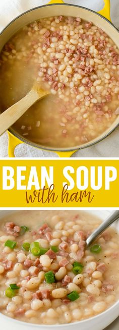 Navy Bean Soup and Ham - Ham - Ideas of Ham - Old Fashioned Navy Bean Soup with Ham This easy bean soup (or SOUP BEANS) was a staple in my family! It's so warming and delicious! Navy Bean Recipes, Bean Soup Recipes, Ham Recipes, Cooking Recipes, Recipes With Ham In It, Entree Recipes, Potato Recipes, Dinner Recipes, Navy Beans And Ham