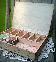Sweet pink floral sewing box with 4 rolls of by LittleBeachDesigns, $32.00