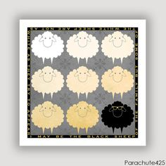 BLACK SHEEP, digital art quote print, digital illustration, humor, grey beige black decor, 8x8 print on Etsy, $15.00