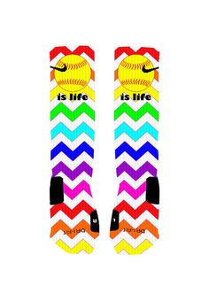 Custom Softball Socks Rainbow Chevron Stripe Custom Nike Elite Socks or Adidas Socks on Etsy, $20.00